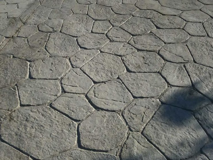 Stamped gray concrete